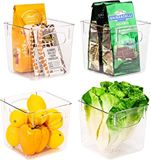 Sorbus Storage Bins Clear Square Plastic Organizer Container Holders with Handles – Versatile for Kitchen, Refrigerator, C...
