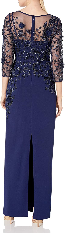 Adrianna Papell Women's Beaded Illusion Column Gown