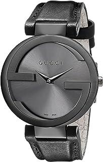 ساعة غوتشي صناعة سويسرية انترلوكينغ سوداء للنساء بسوار من الجلد- YA133302