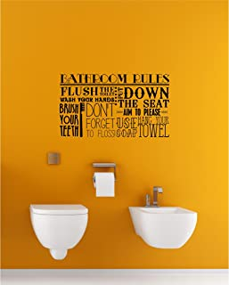Bathroom Rules Subway Collage Vinyl Lettering Wall Decal Sticker (12.5