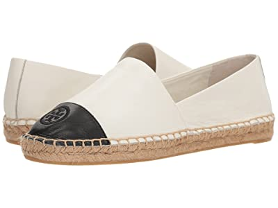 Tory Burch Color Block Flat Espadrille (Ivory/Black Leather) Women