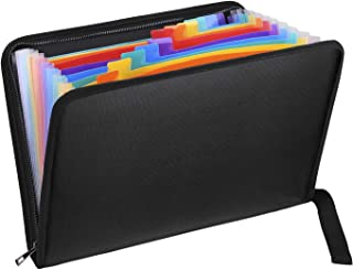 Fireproof Expanding File Folder with 13 Multicolored Pockets A4 Size Document Organizer with Color Labels Zipper Closure N...