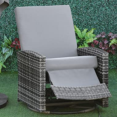 Outsunny PE Rattan Wicker Recliner with 360° Swivel, Water/UV Fighting Material, Soft Cushion, Lounge Chair for Patio, Garden