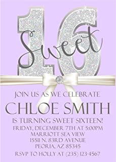 Lavender & Silver Diamonds Sweet 16 Birthday Party Invitations With Envelopes, Lavender Sweet 16 Invitations