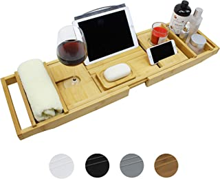 SMIBUY Bamboo Bathtub Caddy Tray, Expandable Bath Table Over Tub for 1-2 Person, Luxury Bath & Bed Tray with Wineglass Boo...