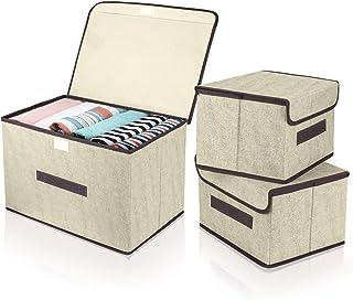 DIMJ Boîte de Rangement, Caisse de Rangement avec Couvercles pour Vêtements, Livres, Jouets, Lot de 3, beige