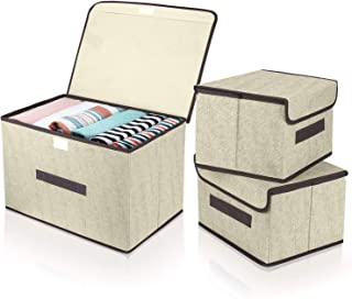 DIMJ Lot de 3 Boîte de Rangement Pliables avec Couvercles, Caisse de Rangement en Tissu avec Poignées pour Vêtements, Livr...