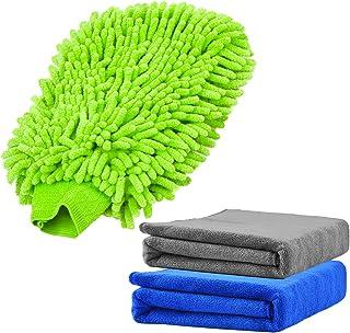 Yoklili 3 Pcs Premium Microfiber Towel /& Chenille Cleaning Mitt Set Home Kitchen Window Extra Large 16 x 24 Lint Free /& Scratch Free Wash Cloth /& Gloves for Car