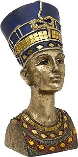 Maturi Gold Bust Nefertiti The Great Royal Wife of Akhenaten Free Standing Head - 7-Inch / 18cm