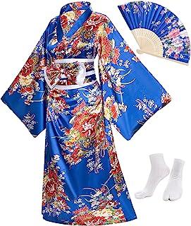 Japanese Anime Women's Kimono Robe Geisha Yukata Sweet Dress Blossom Satin Bathrobe Sleepwear Fans Tabi Socks Set