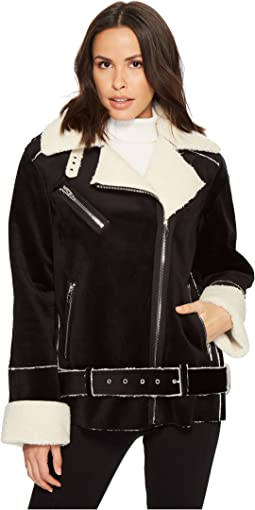 Velvet Bonded Oversized Jacket with Faux Shearling in Down and Out