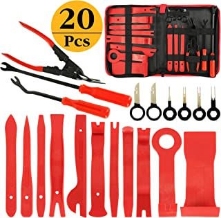AUTMOR 20Pcs Trim Removal Tool, Pry Kit, Car Panel Tool Radio Removal Tool Kit, Auto Clip Pliers Fastener Remover Pry Tool Kit, Car Upholstery Repair Kit, Prying Tool Kit with Storage Bag