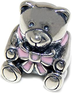 Solid 925 Sterling Silver Teddy Bear with Pink Bow Charm Bead
