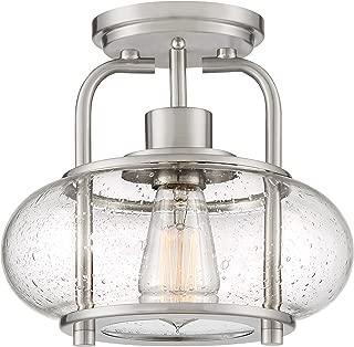 Quoizel TRG1710BN Trilogy Glass Lantern Semi Flush Mount Ceiling Lighting, 1-Light, 60 Watt, Brushed Nickel (9