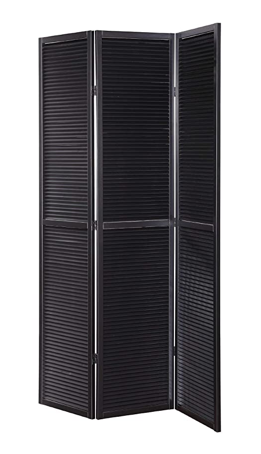 Legacy Decor 3 Panel Solid Wood Shutter Accordion Screen Room Divider in Black
