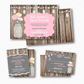 Rustic Mason Jar Daisy Wedding Invitation Suite with envelopes