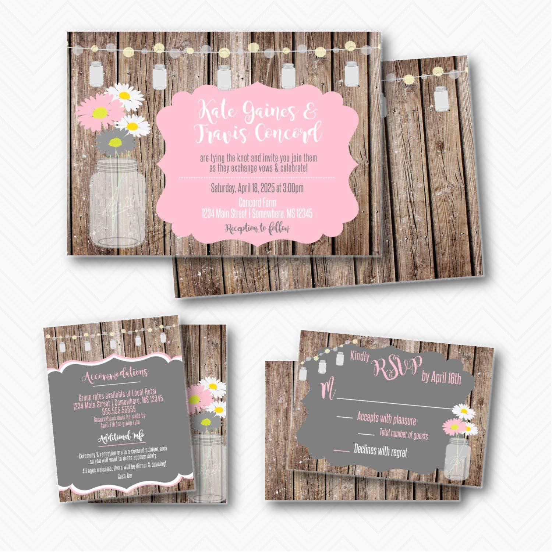 Rustic Mason Jar Daisy Wedding Suite envelopes with Trust Invitation Outlet SALE