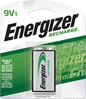 Energizer Rechargeable 9V Batteries, NiMH, 175 mAh, Pre-Charged, 1 Count (Recharge Universal) - Packaging May Vary
