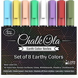 Chalkboard Chalk Markers – Pack of 8 Classic Earth color pens – For..