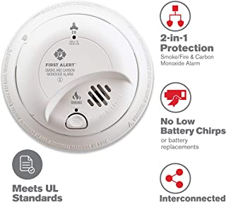 First Alert Hardwired AC Smoke and Carbon Monoxide Detector with 10 Year Sealed Battery Backup, BRK SC9120LBL