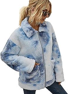 Vershow Women Long Sleeve Fuzzy Print Zipper Faux Fur Fleece Jacket Coat with Pocket