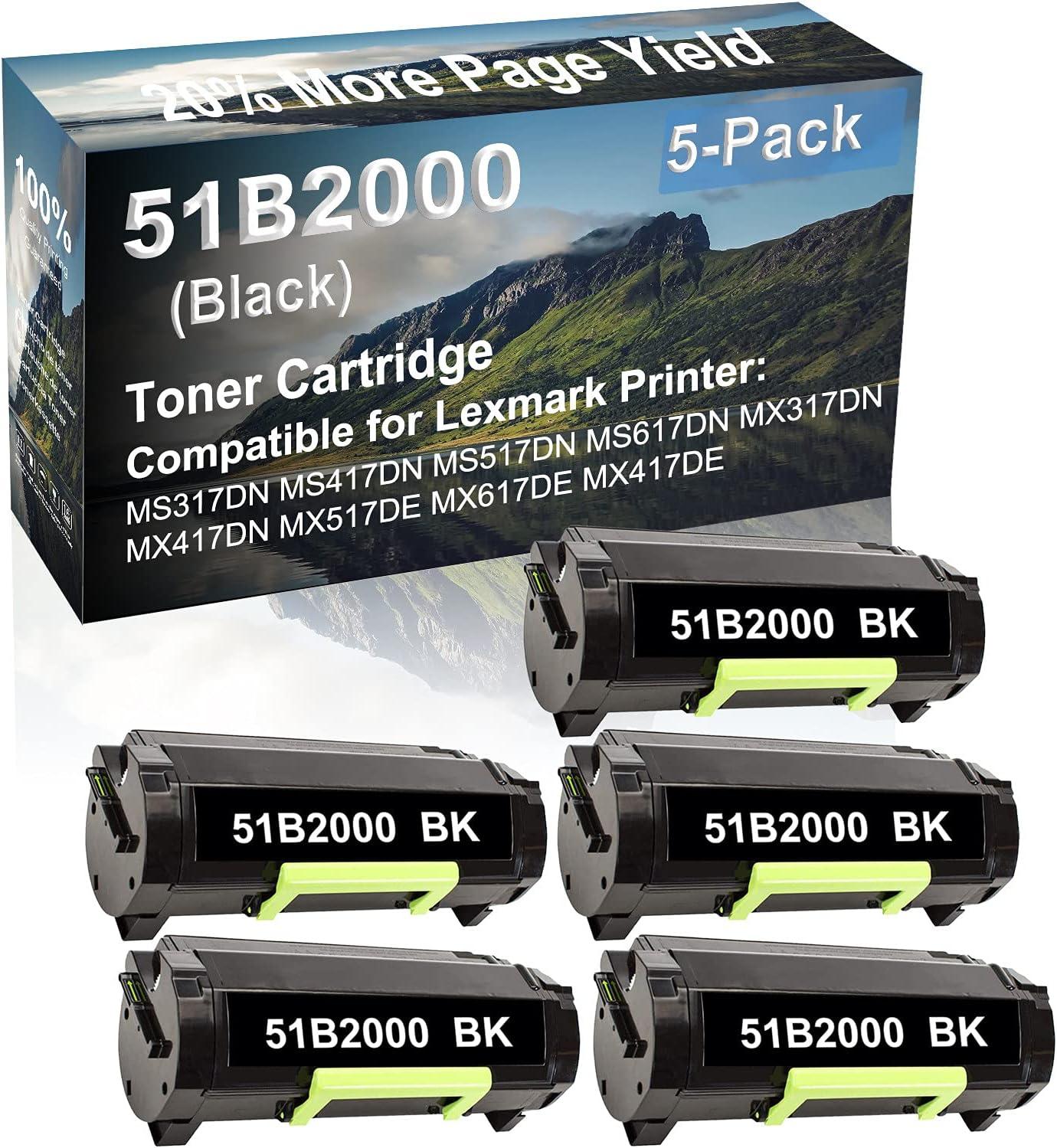 5-Pack Compatible High Capacity MX517DE MX617DE MX417DE Printer Toner Cartridge Replacement for Lexmark 51B2000 Printer Cartridge (Black)