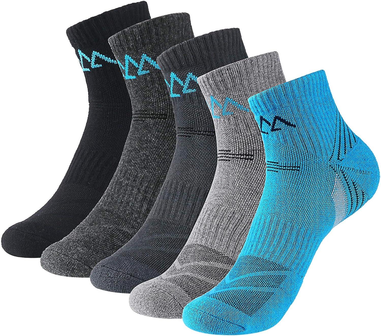innotree 5 Pack Men's Cushioned Hiking Walking Running Socks,Moisture Wicking Blister Resist Multi Performance Padded Quarter Crew Ankle Athletic Socks Outdoor Trekking