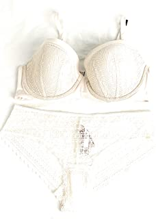 Bundle of 2: 1 36DD Lined Demi Bra and Large Cheeky Panties White Nude
