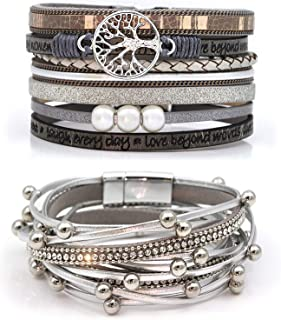 Sponsored Ad – Suyi Multilayer Leather Bracelet Set 2 Pieces Beads Wrap Bracelet Wrist Cuff Bangles with Magnetic Buckle f...