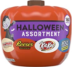 HERSHEY'S Halloween Candy Variety Mix, Pumpkin Bowl for Halloween Decorations, (REESE'S, KIT KAT, WHOPPERS, JOLLY RANCHER)...