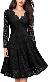 Soluo Women's Long Sleeve Vintage Style Lace Dress Floral Lace V Neck Cocktail Party Swing Dresses