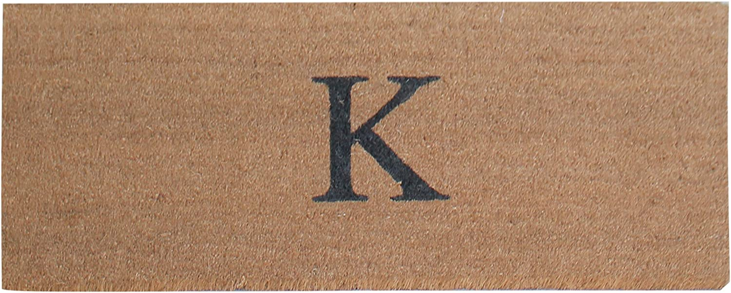 A1 HOME COLLECTIONS First Impression A1HC Plain Coir Doormat, Monogrammed-K, 20 x48 (A1HOME200021-2-K)