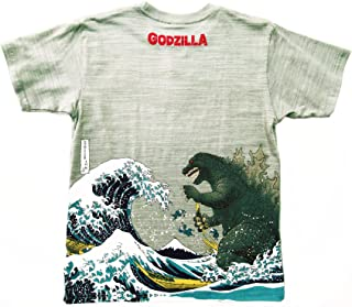 Godzilla T-Shirt Ukiyoe Japanese Traditional Print Wagara Japan Limited Gray