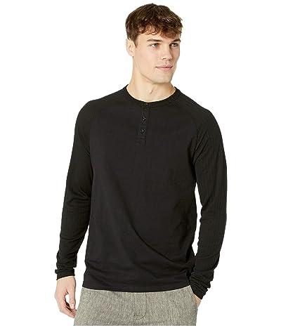 Ben Sherman Long Sleeve Thermal Raglan Sleeve Henley (Black) Men