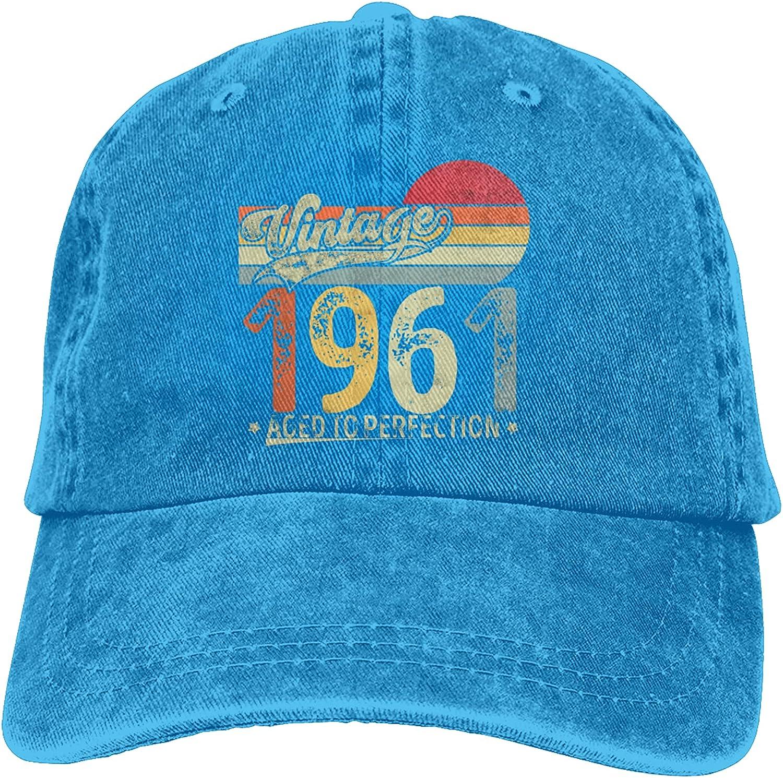 Vintage 1961 Classic 60 Years Old 60th Unisex Denim Baseball Cap Retro Washed Adjustable Dad Hats