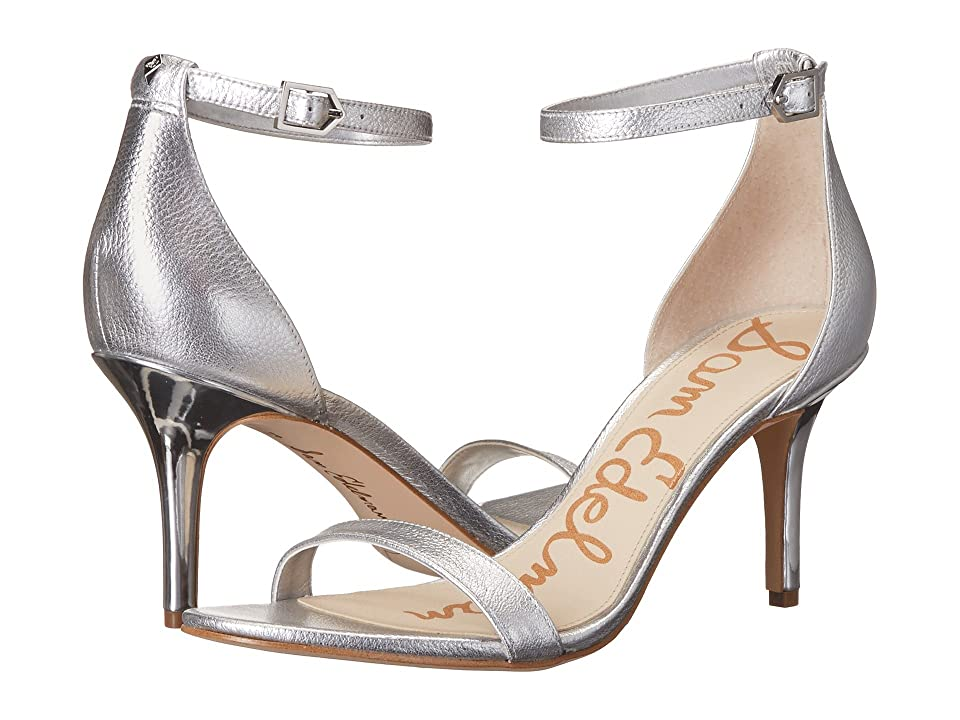 Sam Edelman Patti Strappy Sandal Heel (Soft Silver Tumble Opal Metallic Leather) High Heels