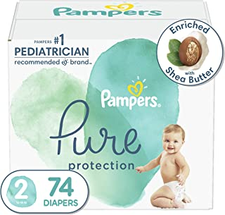 Diapers Size 2, 74 Count - Pampers Pure Protection Disposable Baby Diapers, Hypoallergenic and Unscented Protection, Super...