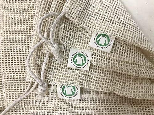 Reusable Organic Cotton Produce Bags - Cotton Mesh Bags for Grocery - Reusable Bags for Vegetable - Organic Cotton Me...