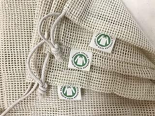 Reusable Organic Cotton Produce Bags - Cotton Mesh Bags for Grocery - Reusable Bags for Vegetable - Organic Cotton Mesh Grocery Bags - Eco Organic Bags - 6 Bags(2S, 2M, 2L)