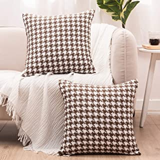 """Basic Model Houndstooth Throw Pillow Covers Decorative Square Pillow Case Jacquard Cushion Cover for Living Room 18""""x 18"""",..."""