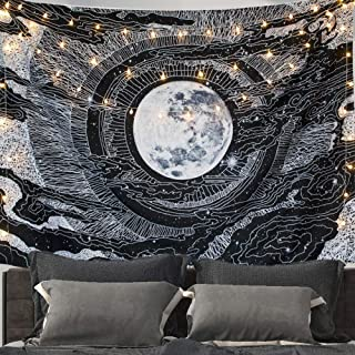 "Tapestry Moon Wall Tapestry Wall Hanging Clouds and Star Tapestries Black and White Wall Art Home Decorations for Living Room Bedroom,59"" x 51"""