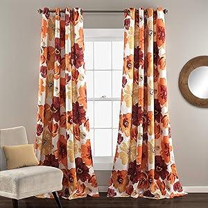 Lush Decor Room Darkening Window Curtain Panel Pair Leah Floral Insulated Grommet, 95