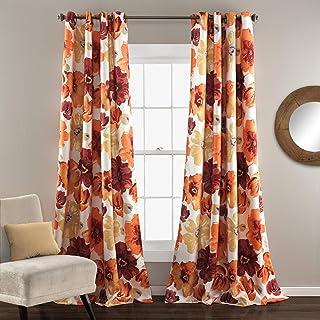 Lush Decor Room Darkening Window Curtain Panel Pair Leah Floral Insulated Grommet,..
