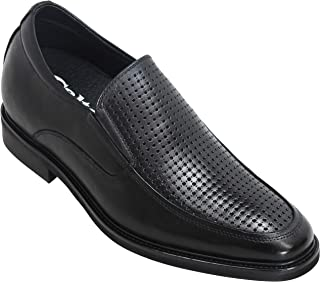 CALTO Men's Invisible Height Increasing Elevator Shoes - Black Leather Perforated Slip-on Dress Loafers - 3 Inches Taller - T1534