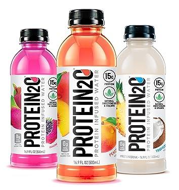Protein2o 0.53oz de agua con infusión de proteína de suero de leche, paquete de variedades, 16.9 oz botella (paquete de 12)