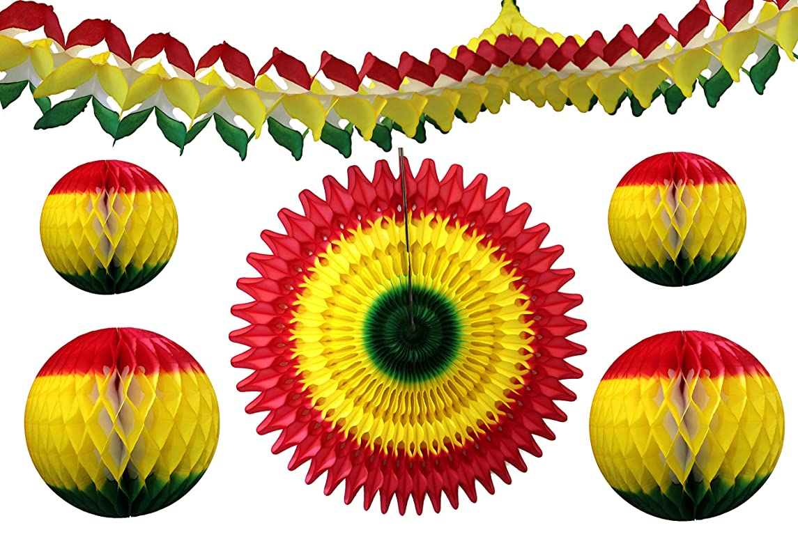 6-Piece Red, Yellow, Green Rasta or Fiesta Themed Striped Honeycomb Tissue Paper Party Decoration Kit (Garland, Fan, Balls)