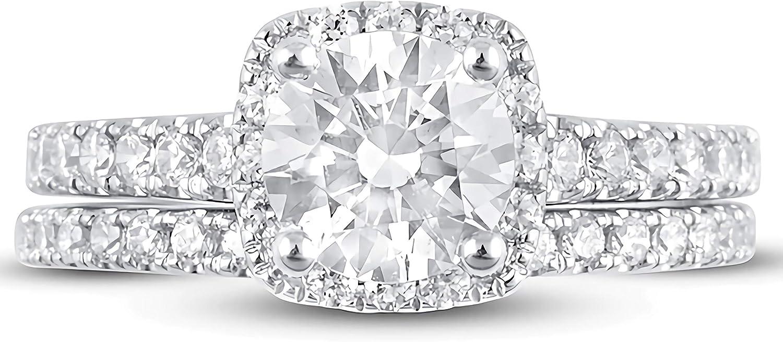 Bridal Set 2-1/5 CT TW Round Cut Moissanite Engagement Ring Wedding Band Set for Women 10k 14k 18k White Gold Free Engraving