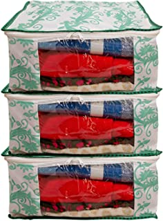 Dewberries Pack of 3 Printed Saree Cover Wardrobe Organiser(Green)