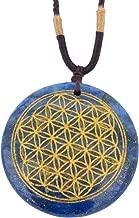Ezina Designs Flower of Life Polished Gemstone Stone Amulet Pendant Lapis Lazuli Tigers Eye for Protection and Health (Lapis Lazuli)