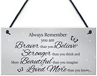XLD Store Stronger Inspirational Motivational Hanging Plaque Friendship Gifts Quote Sign Butterfly PVC Plaque